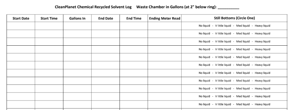 Manual solvent recovery log to track yield